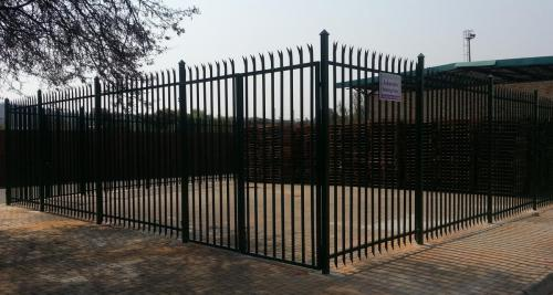 22. Green palisade fence